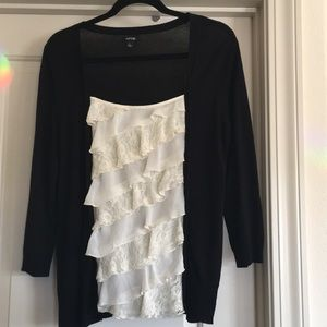 Knit and cotton embellished Sweater Sz Large